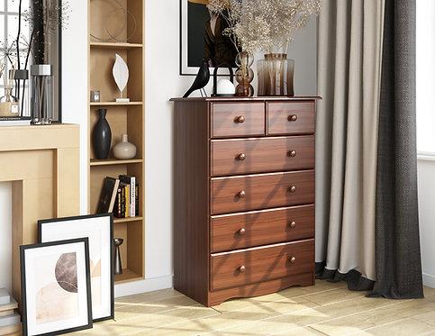 5363 - 100% Solid Wood 6-Drawer Chest-Mocha