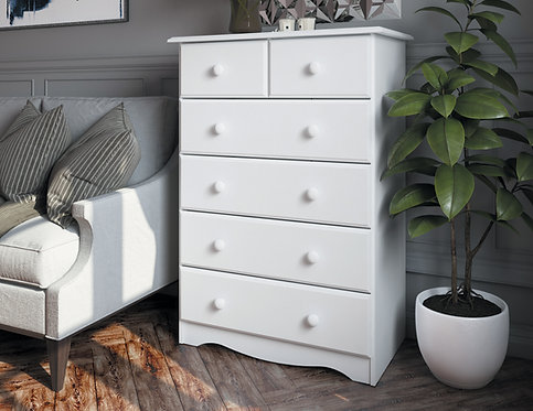 5361 - 100% Solid Wood 6-Drawer Chest- White