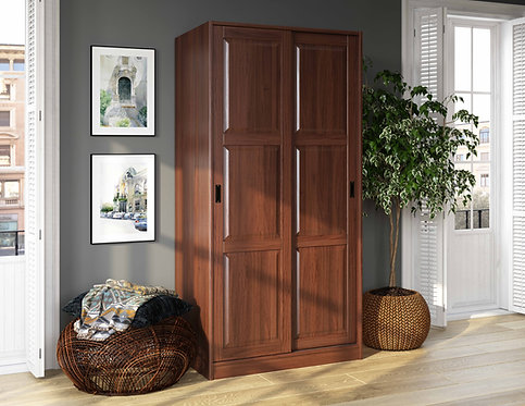 5663 - 100% Solid Wood 2-Sliding Door Wardrobe - Mocha