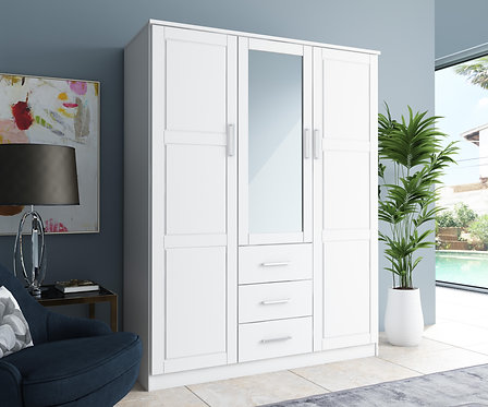 7111 - 100% Solid Wood Cosmo Wardrobe with Mirrored Door, White