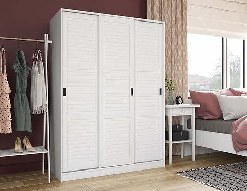 5671 - 100% Solid Wood 3-Sliding Door Wardrobe, White