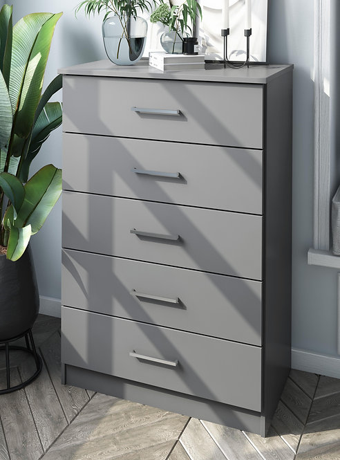 7205 - 100% Solid Wood Metro 5-Drawer Chest, Gray