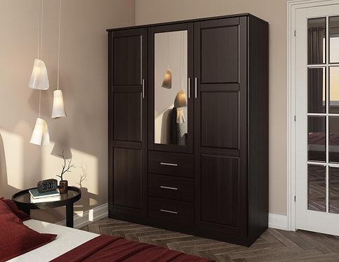 7116 - 100% Solid Wood Cosmo Wardrobe with Mirrored Door, Java