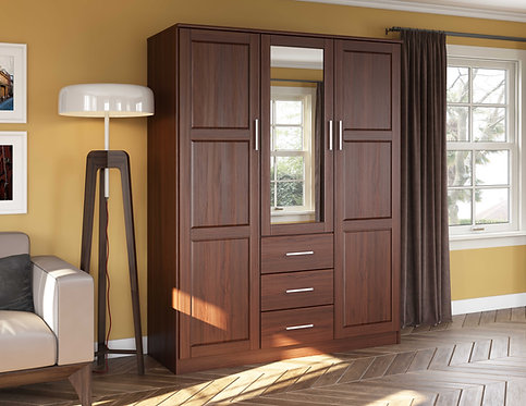 7113 - 100% Solid Wood Cosmo Wardrobe with Mirrored Door, Mocha