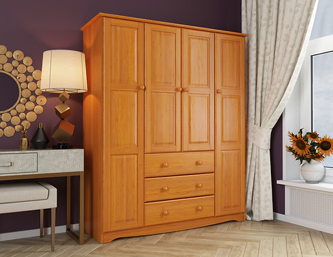 5964 - 100% Solid Wood Family Wardrobe, Honey Pine. No Shelves Included