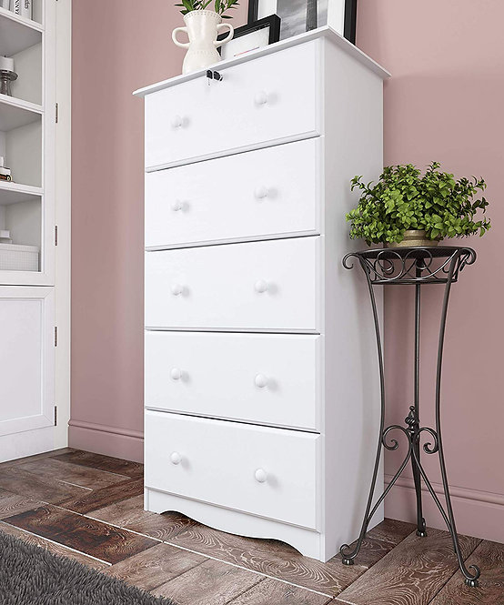5351 - Five-Super Jumbo Drawer Chest - White