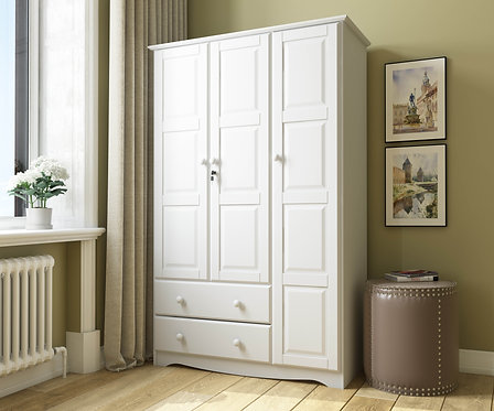 5691 - 100% Solid Wood Grand Wardrobe -White