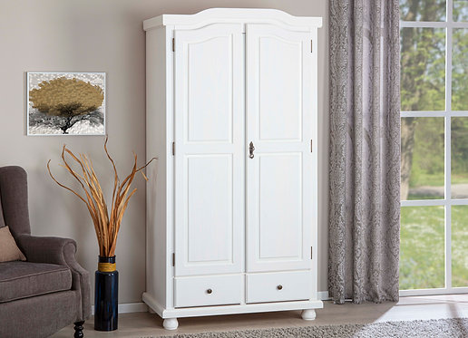20900122 - Solid Wood Reutte 2-Door Wardrobe With Lock, 2 Drawers, Whitewash