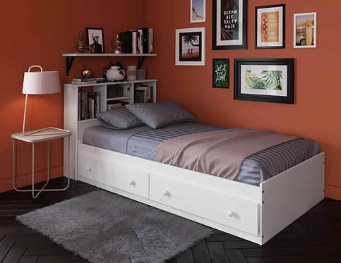 2431 -100% Solid Wood Twin Kansas Mates Bed, White, Platform Only with 2 Drawers