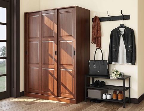 5673 - 100% Solid Wood 3-Sliding Door Wardrobe, Mocha