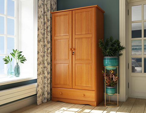 5624 - 100% Solid Wood Universal Wardrobe - Honey Pine