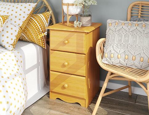 5524 - 100% Solid Wood 3-Drawer Night Stand, Honey Pine