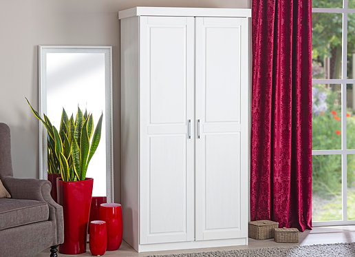 20900113 - Solid Wood Hakon 2-Door Wardrobe, Whitewash