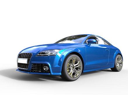 Bright blue car