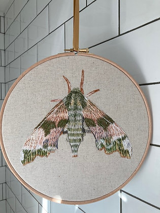 "Original Embroidery in 9"" Embroidery Hoop - Lime Hawk Moth"