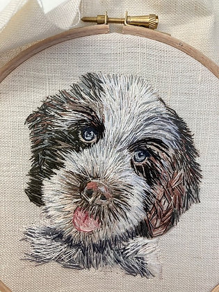 """Commissioned Embroidered Portrait in 6"""" Embroidery Hoop"""