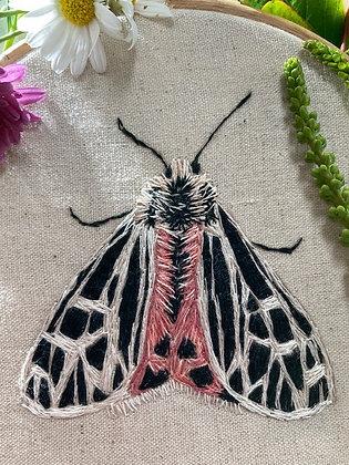 """Original Embroidery in 5"""" Hoop -Tiger Moth"""
