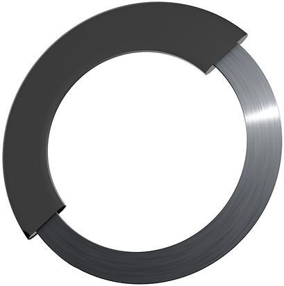 Rubbr-steel gasket with inner metal ring surrounded by rubber