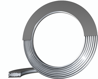 Convex kammprofile gasket with soft material layer for use in tongue and groove flange systems (TG) or male and female flange systems.