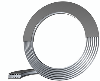 Kammprofile gasket with soft material layer for use in tongue and groove flange systems or male and femal flange systems