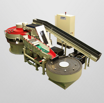 Multi-Channel Continuous Flow Vibrator with feed belt and storage swing table