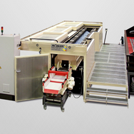 Special long trough which empties on the side, lower grain sieve and part cleaning station