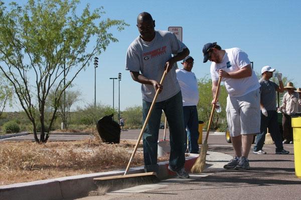 Volunteer sweeping