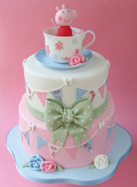 Cute pig Christening Cake