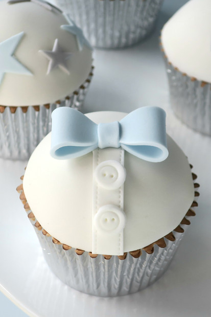 Bow Tie Christening Cupcakes