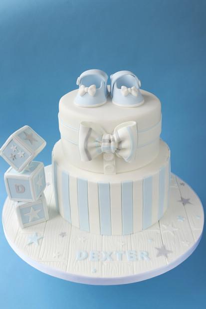 Bow Tie Christening Cake