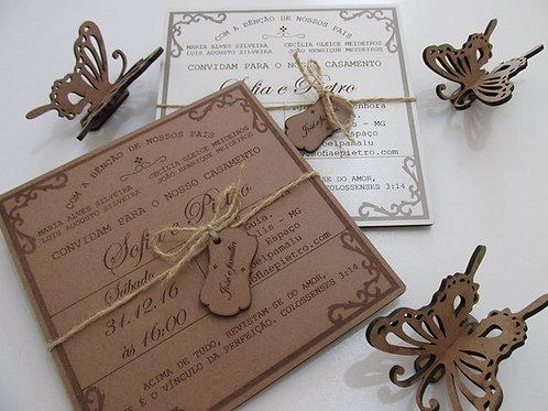 60 Convites de casamento. Peça fabricada em madeira