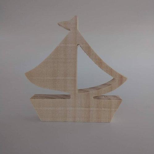 Aplique 3D: Barco 15 cm. Madeira pinus