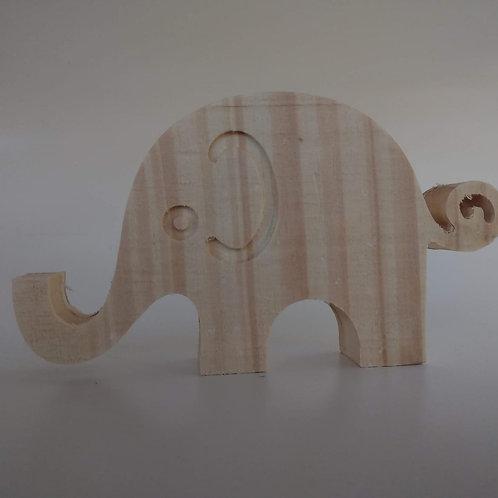Aplique 3D: Elefantinho 15 cm. Madeira pinus