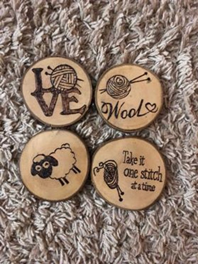 Knit Themed Wooden Coasters
