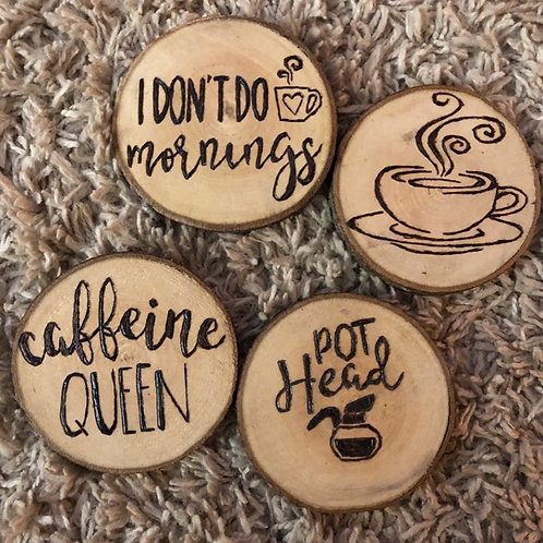 Coffee Themed Wooden Coasters