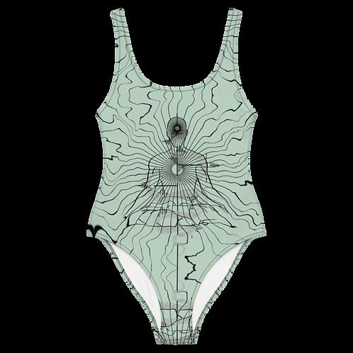 """Center"" One-Piece Swimsuit mint"