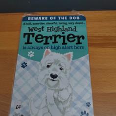 West Highland terrier metal sign £4
