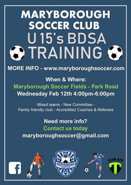 Under 15's BDSA Training to Begin Feb 12th