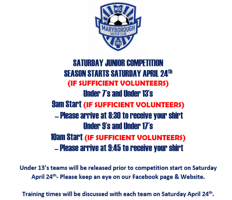 Important Information for Saturday Juniors