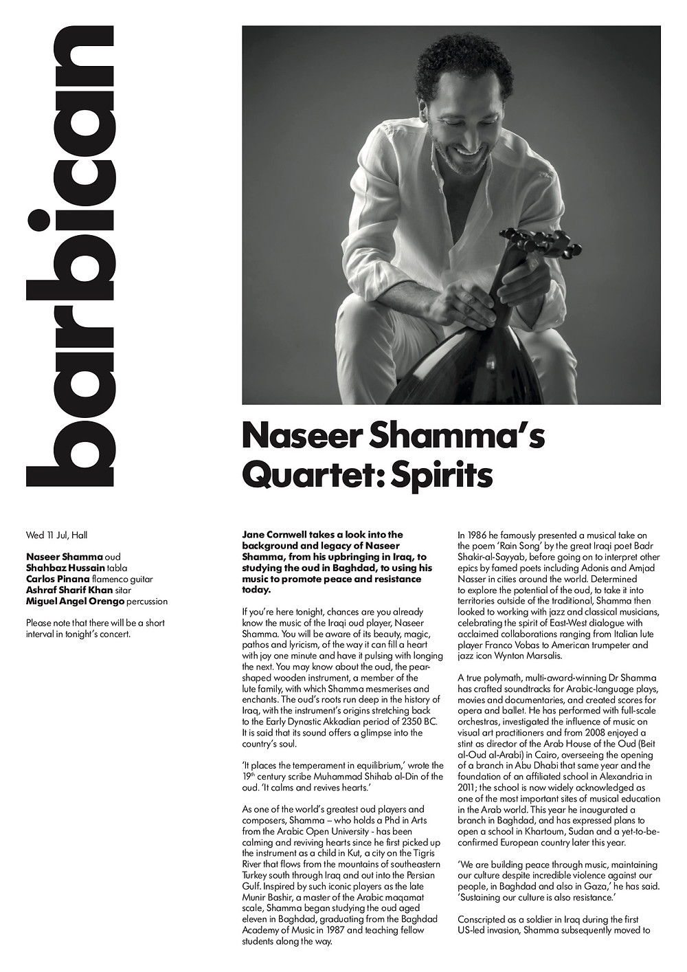 Program notes from Naseer Shamma's Spirits concert at the Barbican Centre in London, 11th July 2018