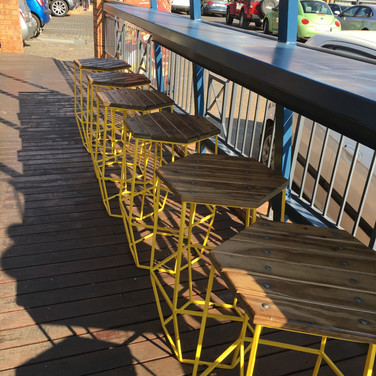 We love the pop of yellow steel against the dark rhinowood tops!!
