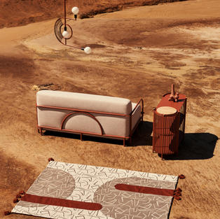 Pumzika couch, Mudziira Chandelier, Dehinineti drinks console, Selamawi ceramic wall planter & Zorora quilt