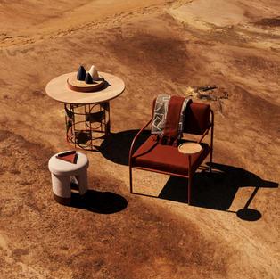 Akaya Lounge Chair, Zorora Quilt,Hlutha Table & Isinmi Ottoman