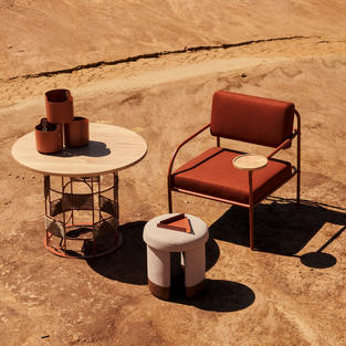 Hlutha table, Amani Stacking pots, Akaya Lounge chair, Isinmi Ottoman & ile tray