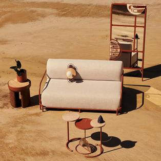 Isinmi ottoman, Amani planter, Pumzika couch, Mudziira wall light, Muk'eti nesting tables & Faraji Mirror