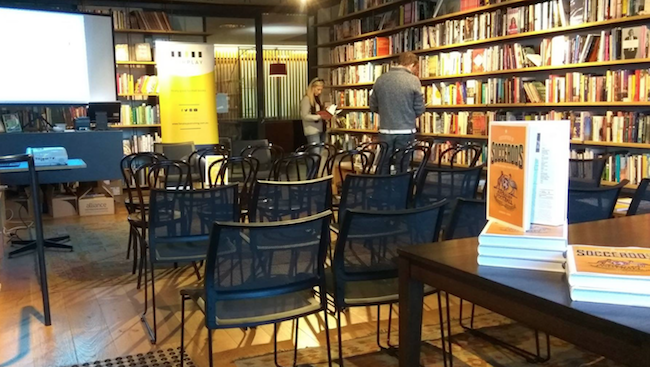 Getting ready for the Canberra launch at Muse Bookshop