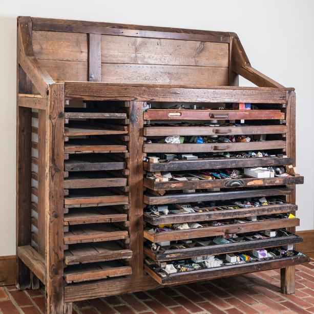 The Letter Press Drawers housing the artwork of 'Restriction'