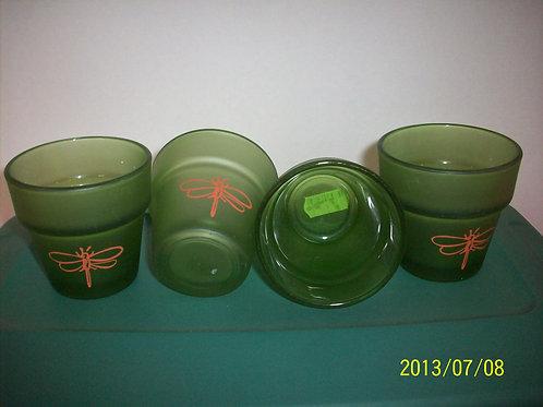 Dragonfly green vase glass