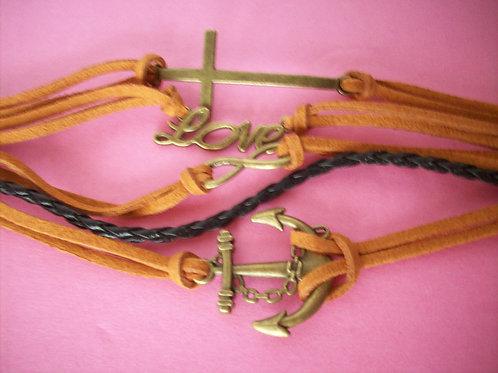 Love, infinity, cross, anchor bracelet