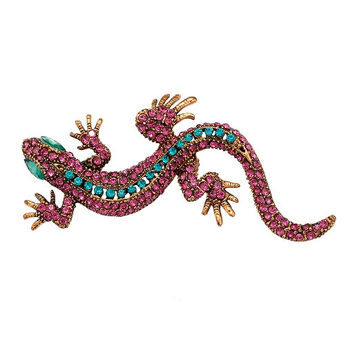 Lizard pin or broach pink stones